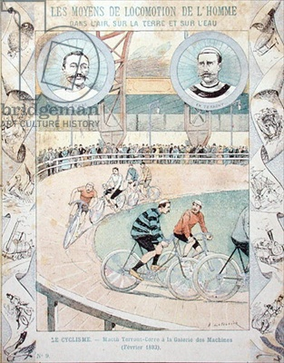 Charles Terront (1857-1932) and Jules Corre at the Galerie des Machines in February 1893, from a schoolbook (colour litho)